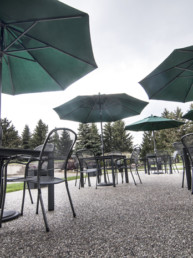 patio tables at The Links at Spruce Grove