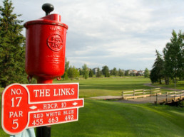 hole 17 marker at The Links at Spruce Grove with bridge in the background
