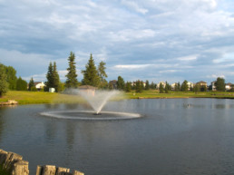 water hazard with fountain at The Links at Spruce Grove