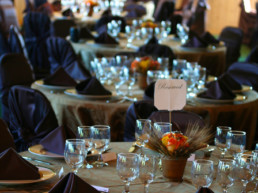banquet tables set at The Links at Spruce Grove reading for group booking, wedding, meetings, party